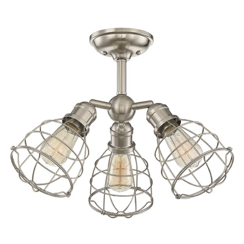 Savoy House Industrial Semi-Flushmount Light Satin Nickel Scout by Savoy House 6-4136-3-SN