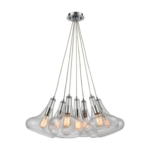 Elk Lighting Elk Lighting Orbital Polished Chrome Multi-Light Pendant with Bowl / Dome Shade 10422/7SR