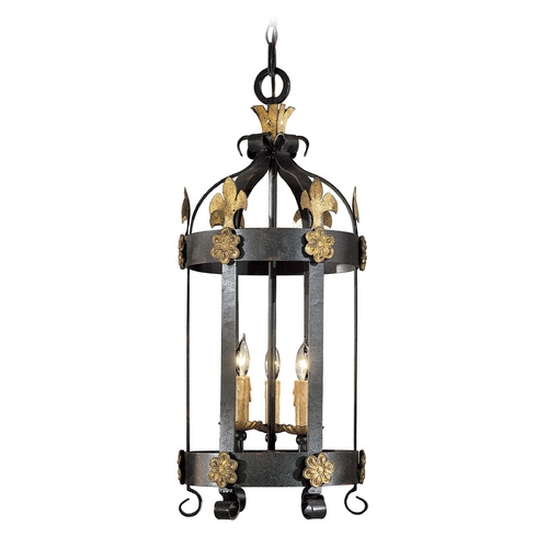 Metropolitan Lighting Pendant Light in French Black with Gold Leaf Finish N6105-20