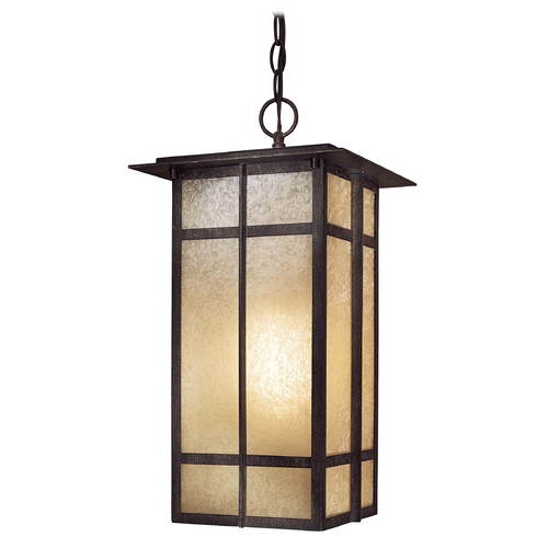 Minka Lavery Outdoor Hanging Light with Beige / Cream Glass in Iron Oxide Finish 71194-A357-PL