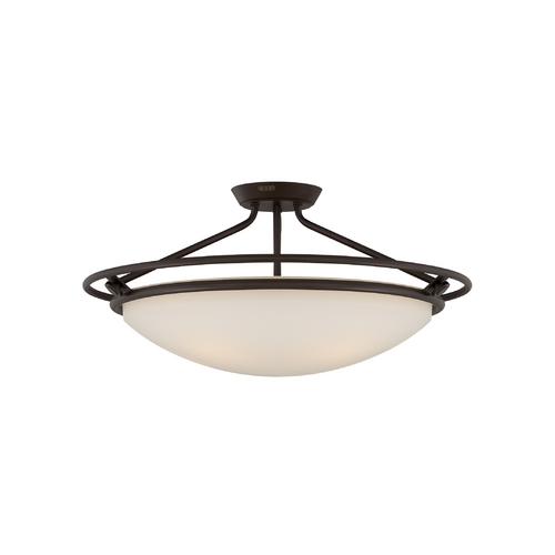 Quoizel Lighting Semi-Flushmount Light with White Glass in Western Bronze Finish QF1201SWT