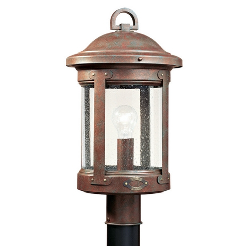 Sea Gull Lighting Post Light with Clear Glass in Weathered Copper Finish 8241-44