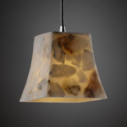 Justice Design Group Justice Design Group Alabaster Rocks! Collection Mini-Pendant Light ALR-8815-40-CROM