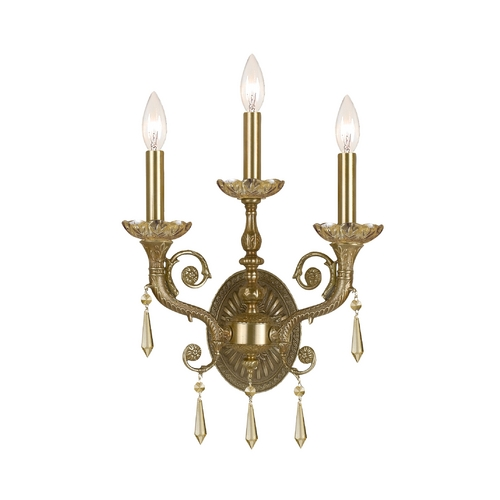 Crystorama Lighting Crystal Sconce Wall Light in Aged Brass Finish 5173-AG-GT-MWP