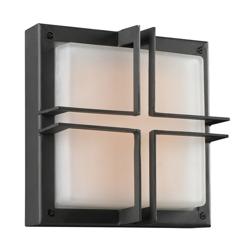 PLC Lighting Modern Outdoor Wall Light with White Glass in Bronze Finish 8026  BZ