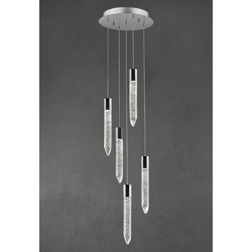 Design Classics Lighting Design Classics Icicle Chrome LED Crystal Multi-Light Pendant 1893-26