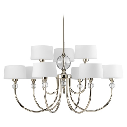 Progress Lighting Progress Modern Chandelier with White Glass in Polished Nickel Finish P4675-104