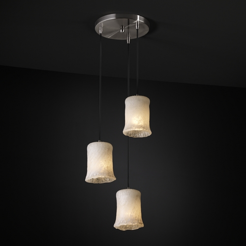 Justice Design Group Justice Design Group Veneto Luce Collection Multi-Light Pendant GLA-8818-16-WHTW-NCKL