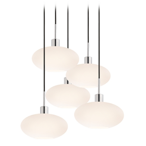 Sonneman Lighting Modern Multi-Light Pendant Light with White Glass and 5-Lights 3566.01K-5