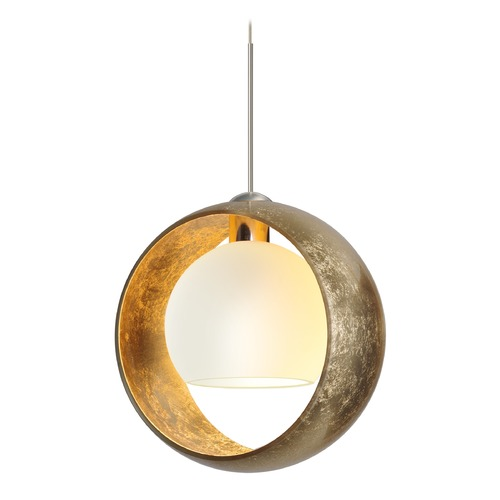 Besa Lighting Besa Lighting Pogo Satin Nickel LED Pendant Light with Globe Shade 1XT-4293GG-LED-SN