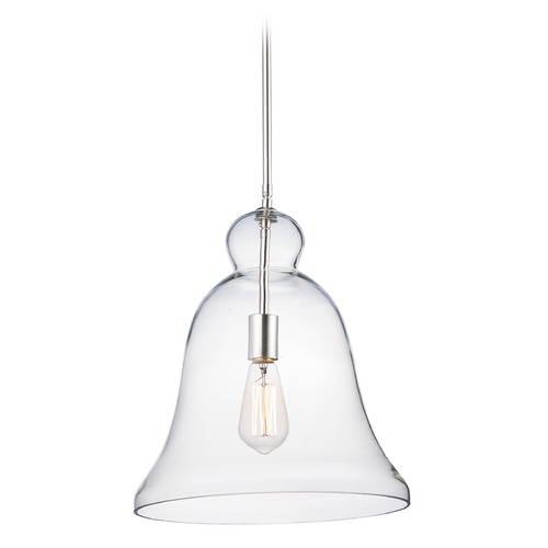 Maxim Lighting Maxim Lighting Annabelle Satin Nickel Pendant Light with Bell Shade 10097CLSN