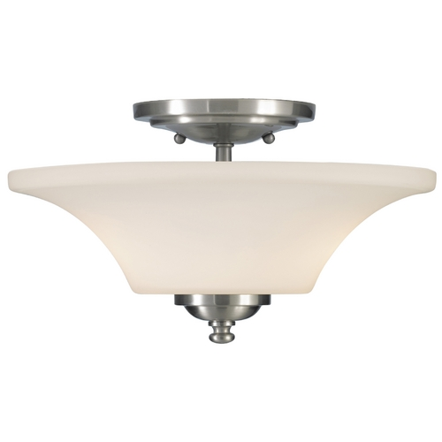 Feiss Lighting Modern Semi-Flushmount Light with White Glass in Brushed Steel Finish SF240BS