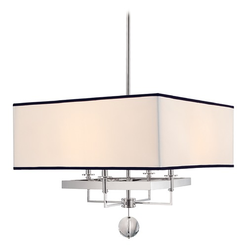 Hudson Valley Lighting Modern Pendant Light with White Shades in Polished Nickel Finish 5646-PN