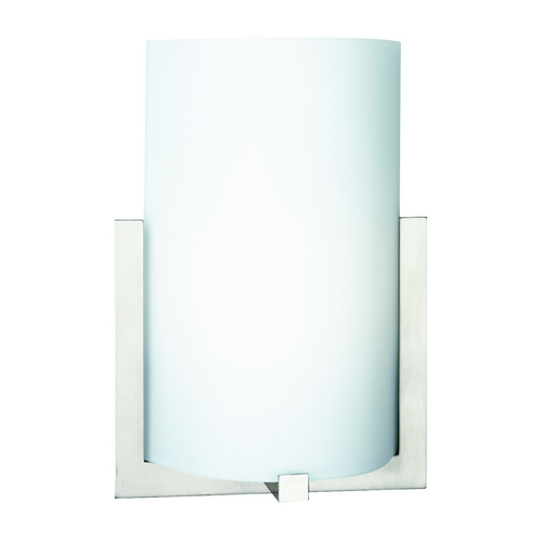Philips Lighting Modern Sconce Wall Light with White Glass in Satin Nickel Finish F541236U