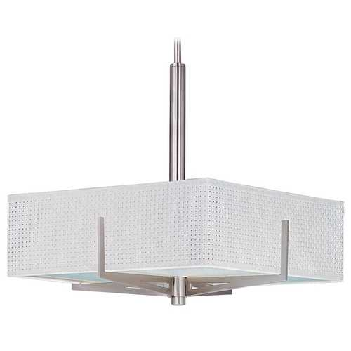 ET2 Lighting Modern Pendant Light with White Shades in Satin Nickel Finish E95345-100SN