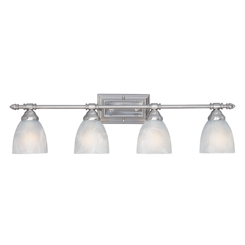 Designers Fountain Lighting Bathroom Light with Alabaster Glass in Satin Platinum Finish 94004-SP