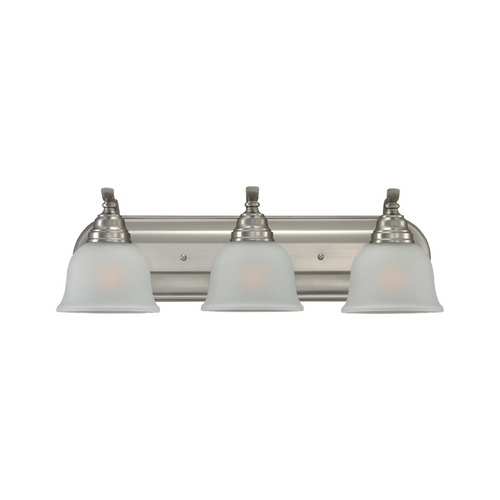 Sea Gull Lighting Bathroom Light with White Glass in Brushed Nickel Finish 44627-962