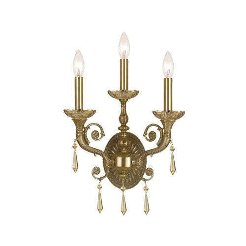 Crystorama Lighting Crystal Sconce Wall Light in Aged Brass Finish 5173-AG-GTS