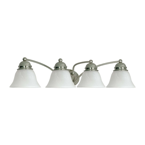 Nuvo Lighting Bathroom Light with Alabaster Glass in Brushed Nickel Finish 60/3207