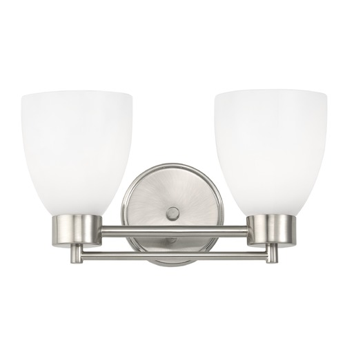 Design Classics Lighting Modern Bathroom Light with White Glass in Satin Nickel Finish 702-09 GL1024MB