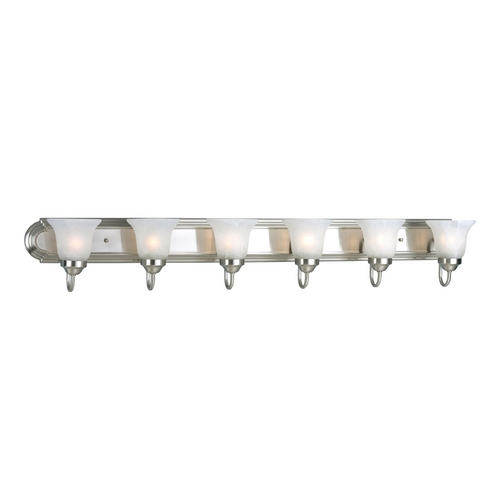 Progress Lighting Progress Bathroom Light with Alabaster Glass in Brushed Nickel Finish P3056-09