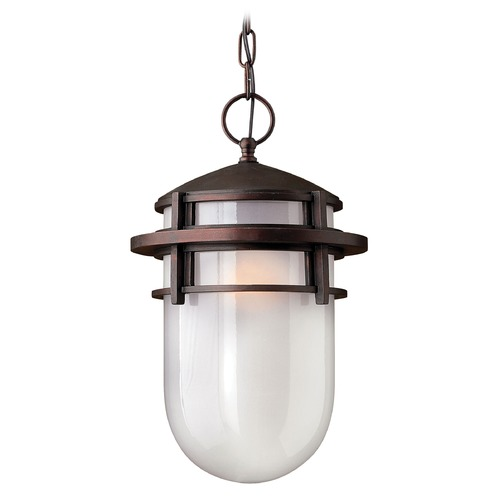 Hinkley Lighting Modern Outdoor Hanging Light with White Glass in Victorian Bronze Finish 1952VZ
