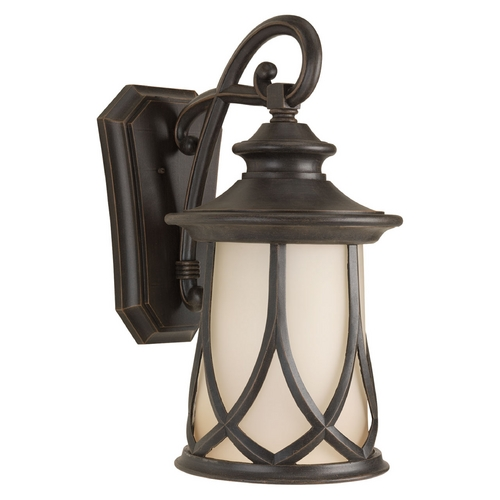 Progress Lighting Outdoor Wall Light with Beige / Cream Glass in Aged Copper Finish P6606-122