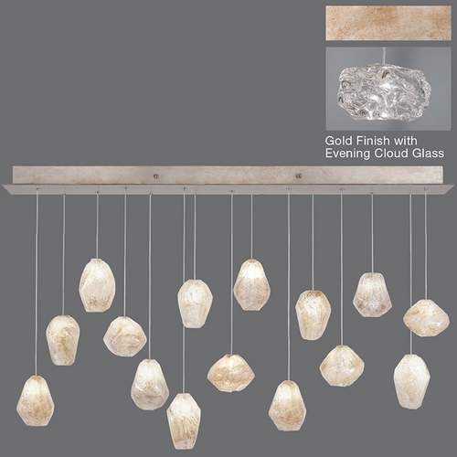 Fine Art Lamps Fine Art Lamps Natural Inspirations Gold-Toned Silver Leaf Multi-Light Pendant 853740-21ST
