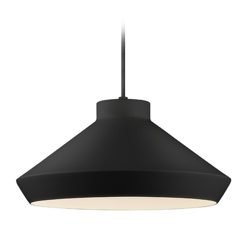 Sonneman Lighting Sonneman Koma Satin Black LED Pendant Light with Coolie Shade 2752.25-G