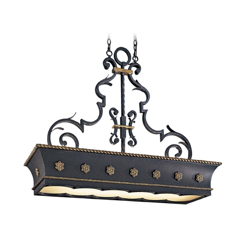 Metropolitan Lighting Island Pendant Light in French Black with Gold Leaf Finish N6107-20
