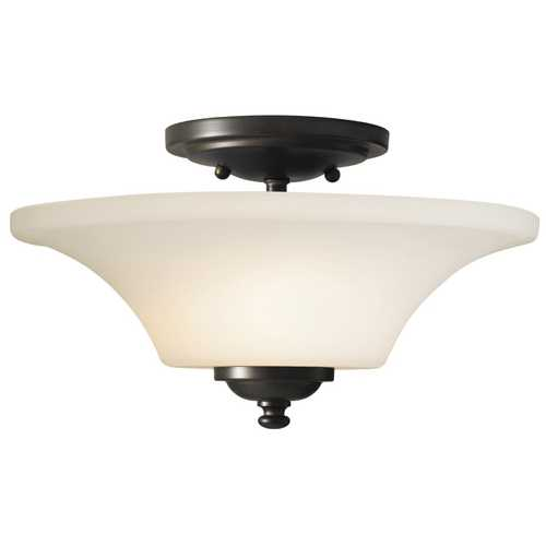 Feiss Lighting Modern Semi-Flushmount Light with White Glass in Oil Rubbed Bronze Finish SF240ORB