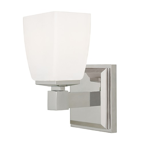 Hudson Valley Lighting Modern Sconce with White Glass in Satin Nickel Finish 6201-SN