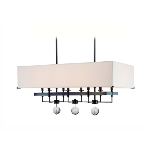 Hudson Valley Lighting Modern Island Light with White Shades in Old Bronze Finish 5648-OB