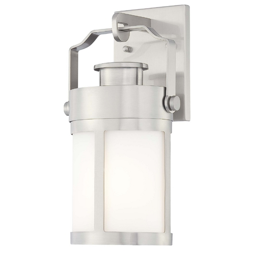 Minka Lavery Outdoor Wall Light with White Glass in Brushed Stainless Steel Finish 72191-144
