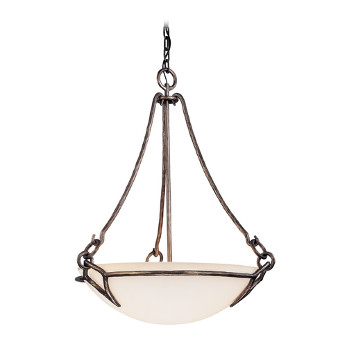 Troy Lighting Pendant Light with White Glass in Pompeii Silver Finish FF2673