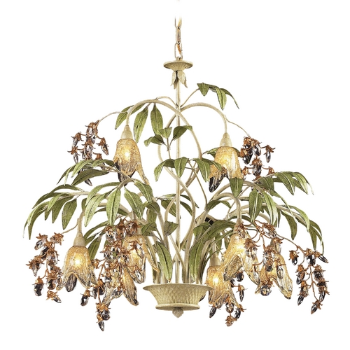 Elk Lighting Chandelier with Amber Glass in Seashell Finish 86054