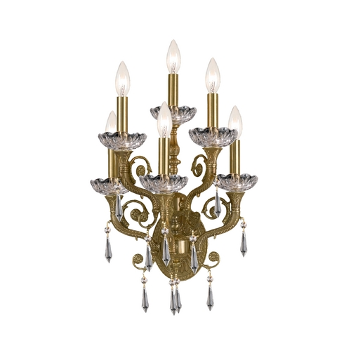 Crystorama Lighting Crystal Sconce Wall Light in Aged Brass Finish 5176-AG-CL-MWP