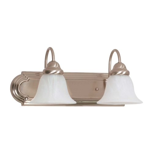 Nuvo Lighting Bathroom Light with Alabaster Glass in Brushed Nickel Finish 60/3208