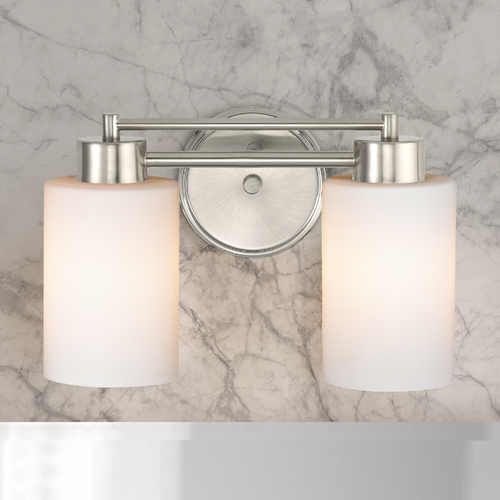 Design Classics Lighting Modern Bathroom Light with White Glass in Satin Nickel Finish 702-09 GL1028C