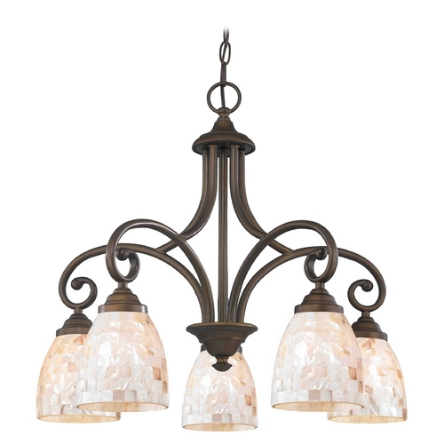 Design Classics Lighting Chandelier with Beige / Cream Glass in Neuvelle Bronze Finish 717-220 GL1026MB