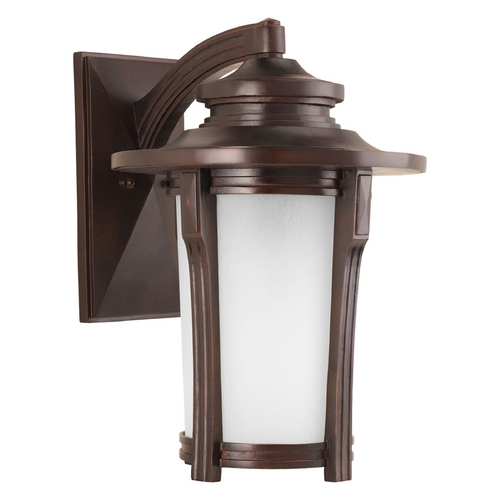 Progress Lighting Etched Seeded Glass Outdoor Wall Light Bronze Progress Lighting P6607-97