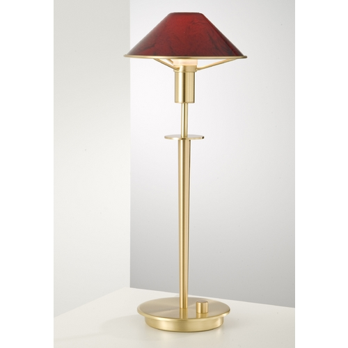 Holtkoetter Lighting Holtkoetter Modern Table Lamp with Red Glass in Brushed Brass Finish 6514 BB MGR