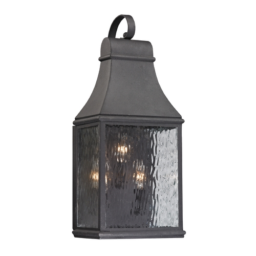Elk Lighting Outdoor Wall Light with Clear Glass in Charcoal Finish 47072/3