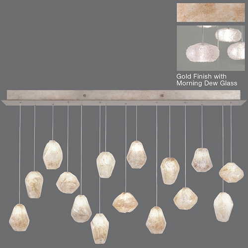 Fine Art Lamps Fine Art Lamps Natural Inspirations Gold-Toned Silver Leaf Multi-Light Pendant with Oblong Shade 853740-22ST