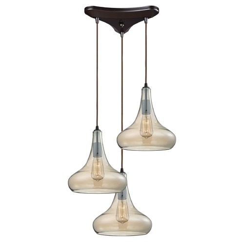 Elk Lighting Elk Lighting Orbital Oil Rubbed Bronze Multi-Light Pendant with Bowl / Dome Shade 10432/3