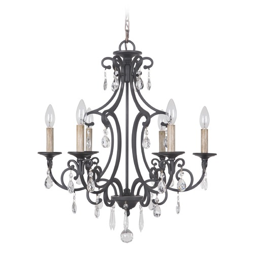 Craftmade Lighting Craftmade Bentley Matte Black Crystal Chandelier 38926-MBK