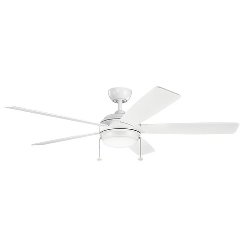 Kichler Lighting Kichler Lighting Starkk Matte White LED Ceiling Fan with Light 330180MWH
