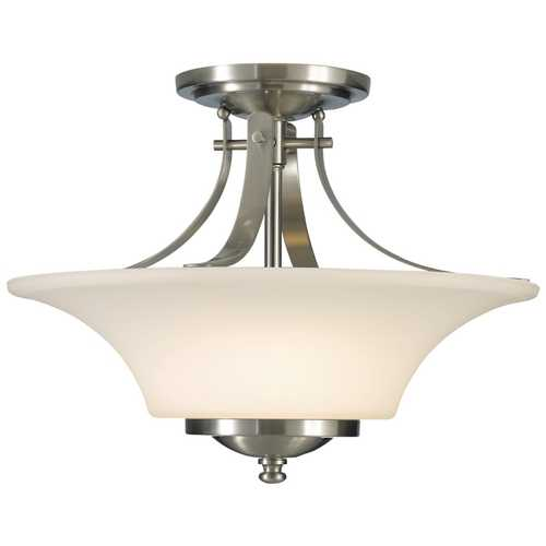 Feiss Lighting Modern Semi-Flushmount Light with White Glass in Brushed Steel Finish SF241BS