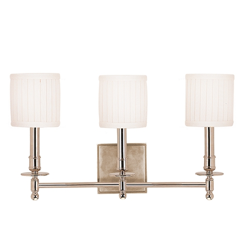 Hudson Valley Lighting Sconce Wall Light with White Shades in Polished Nickel Finish 303-PN
