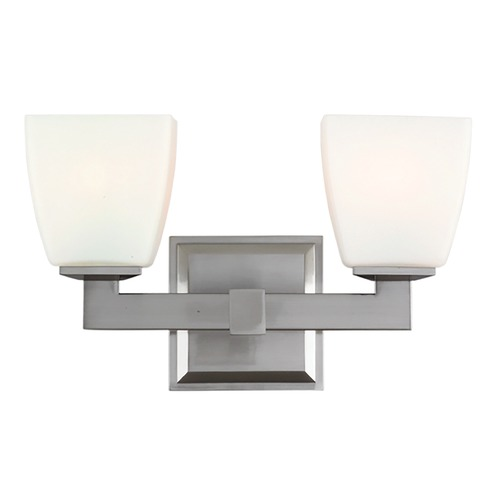 Hudson Valley Lighting Modern Bathroom Light with White Glass in Satin Nickel Finish 6202-SN